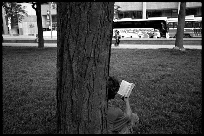 Reading a dead tree edition at Nathan Phillip
